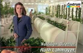 Ruth Lahmayer as television host, nutrition expert, spokesperson, and registered dietitian.